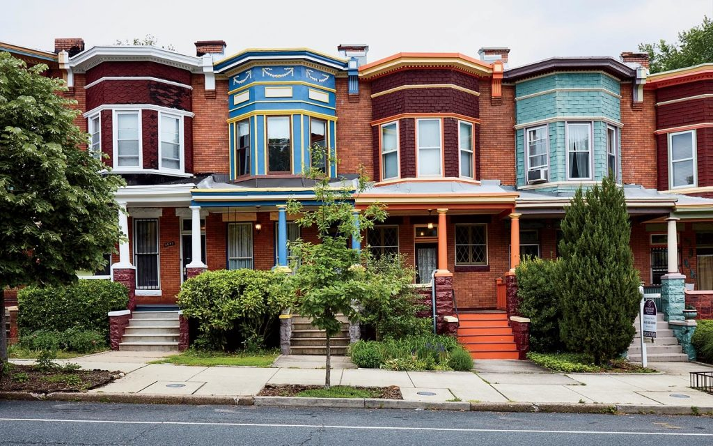Most beautiful Neighborhoods in America, rowhouse, townhouse, colorful house, baltimore, maryland