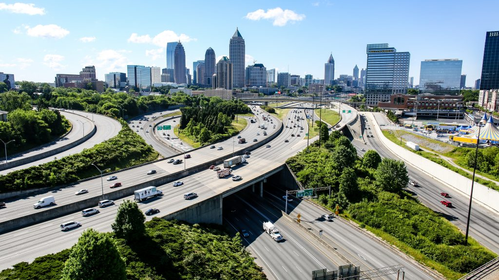 Dangerous neighborhoods in Atlanta, freeway, highway, skyline, city