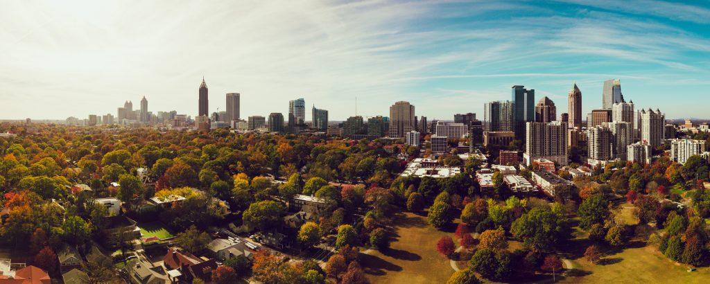 Dangerous neighborhoods in Atlanta, skyline, city, trees, fall