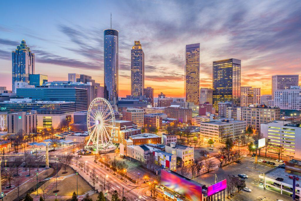 Dangerous neighborhoods in Atlanta, downtown atlanta, skyline, ferris wheel, city, nightlife