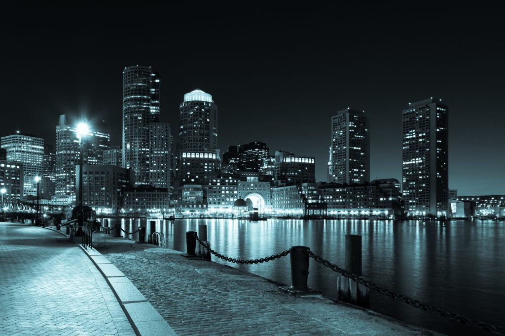 Sex Offenders in Boston; Boston skyline; night