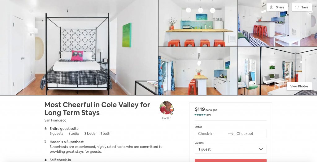 Top 10 Airbnbs in San Francisco, Most Cheerful in Cole Valley