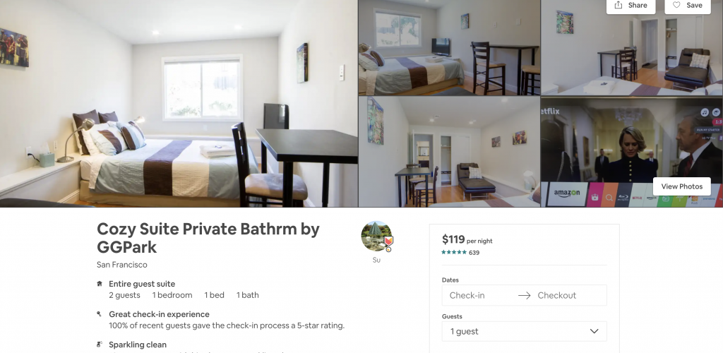 Top 10 Airbnbs in San Francisco, Cozy Suite, Private Bathroom, near CG Park