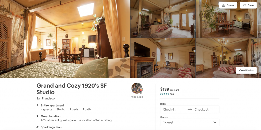 Top 10 Airbnbs in San Francisco, Grand and Cozy 1920s, SF, Studio, Luxury, Apartment