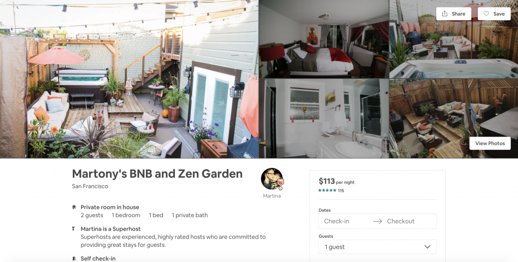 Top 10 Airbnbs in San Francisco, BNB and Zen Garden, hot tub, luxury, getaway