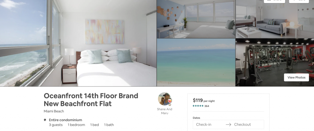 Airbnbs in Miami, beachfront flat, oceanfront, ocean view, beach, vacation