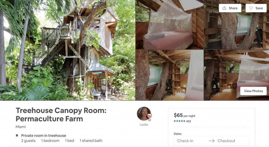 Airbnbs in Miami, treehouse, vacation, woods