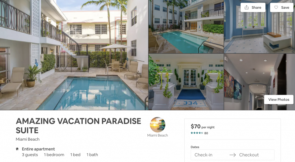 Airbnbs in miami, pool, vacation, beach
