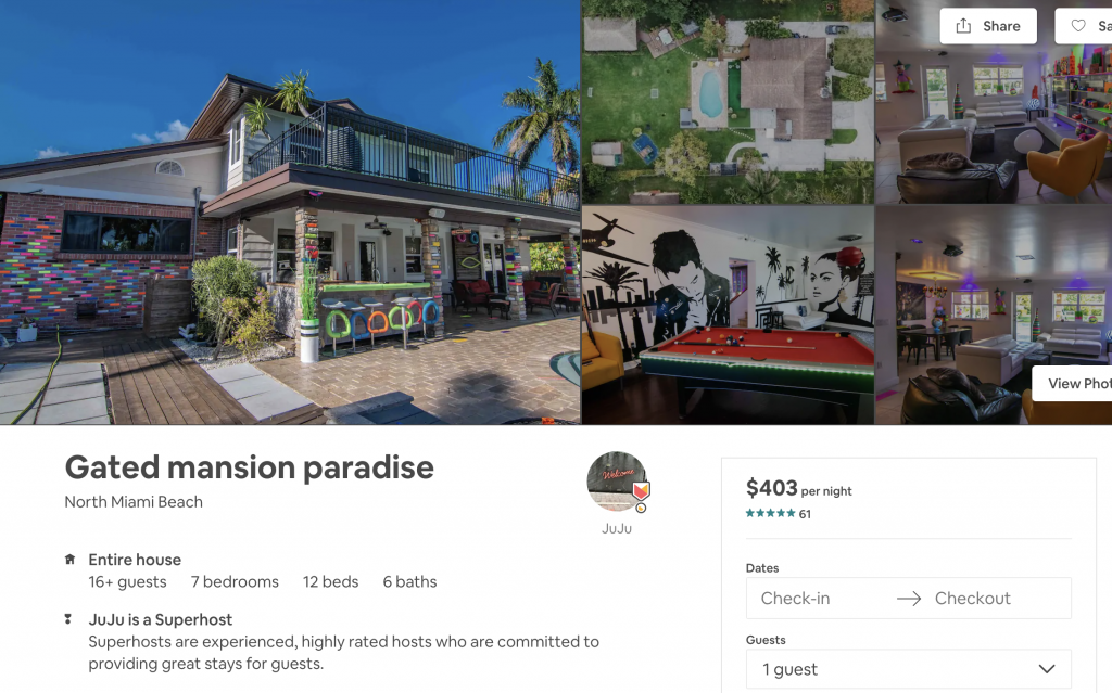 Airbnbs in Miami, mansion, part house, group house