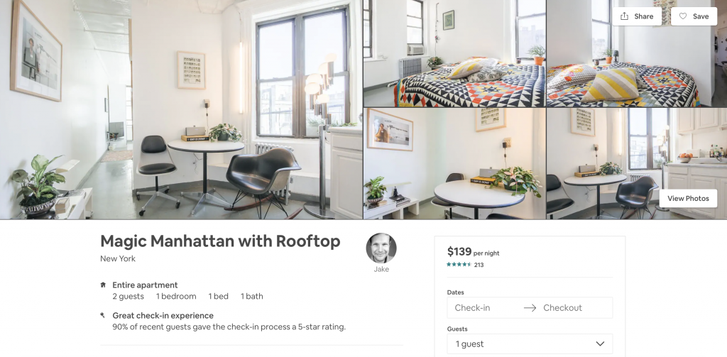 most in-demand airbnbs in New York, rooftop, manhattan, one bedroom, magic manhattan