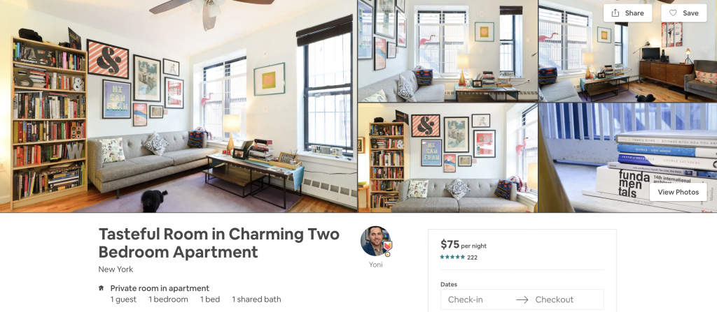 most in-demand airbnbs in New York, private room, library, books, natural light