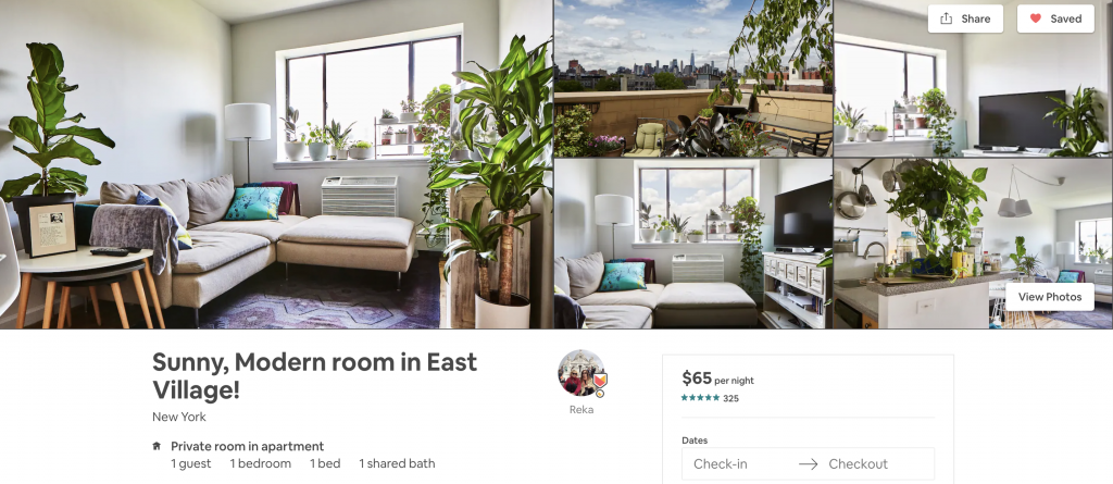 most in-demand airbnbs in New York, east village, terrace, plants