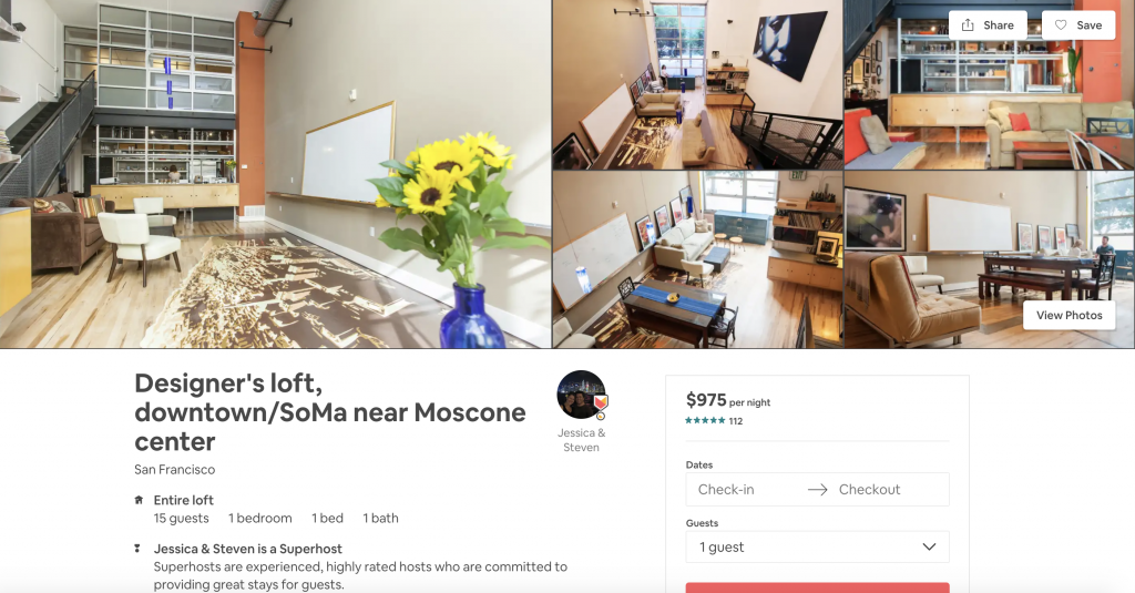 Top 10 Airbnbs in San Francisco, Designer's Loft