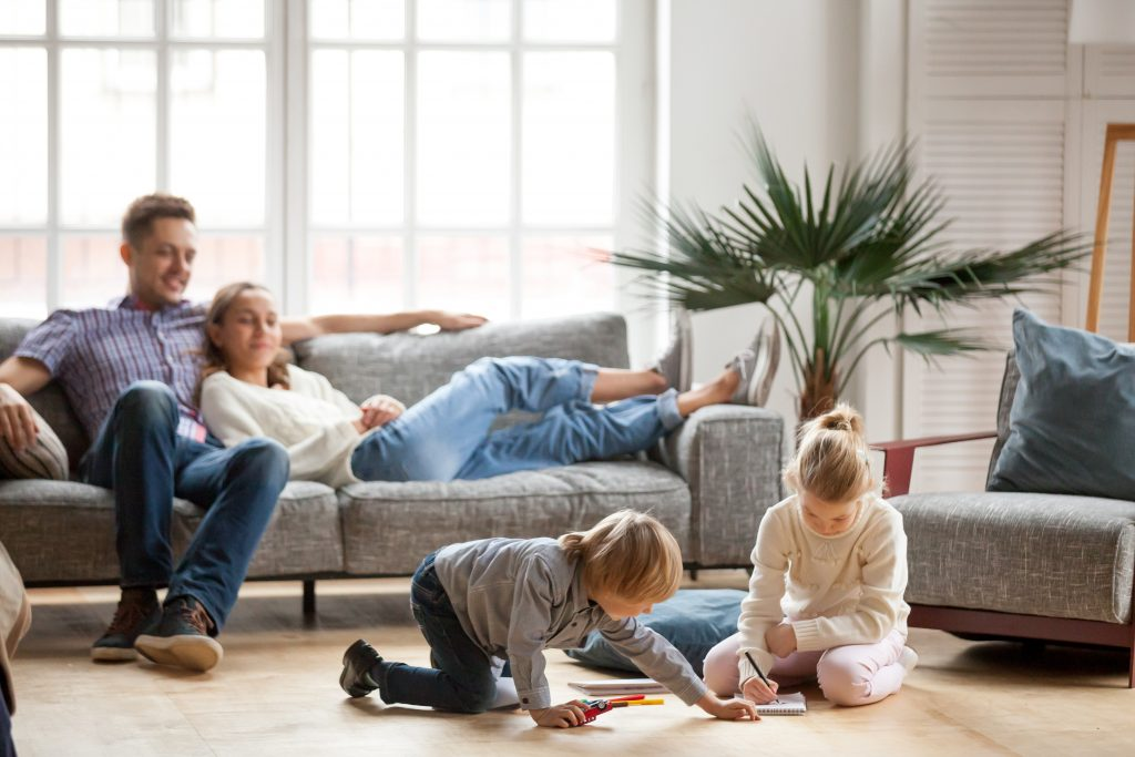 renting vs owning, family home, parents, kids, living room